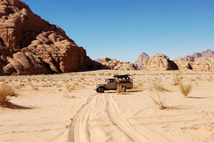 Safari in Wadi Rum desert, Jordan. Royalty Free Stock Photography