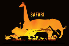Safari and wildlife. Vector illustration of Africa landscape with wildlife and sunset background. Safari theme Stock Photos