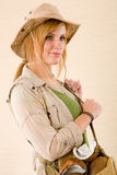 Safari young woman wear hat Royalty Free Stock Photo