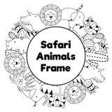 Safari zwierząt okręgu czarny i biały rama ilustracja wektor