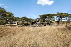 Safaribil med turister Royaltyfri Bild