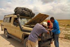 Safarien åker lastbil sammanbrott Arkivbild
