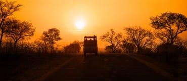Safarifahrzeug bei Sonnenuntergang Stockbild