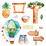Safariinzameling met ananas, binoculair, luchtballon royalty-vrije illustratie