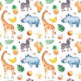 Safariinzameling met giraf, gestreepte rinoceros, stock illustratie