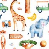 Safariinzameling met leuke giraf, olifant, meerkat stock illustratie