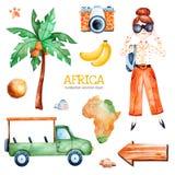 Safariinzameling met palm, jong reizend meisje, bestelwagenauto stock illustratie