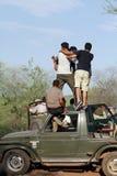 Safarijeep in streek 4 van Ranthambore-park Stock Fotografie