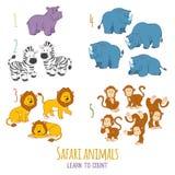 Safaritiere: lernen Sie, von ein bis fünf zu zählen Lizenzfreies Stockbild