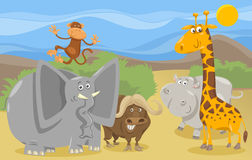Safaritiergruppen-Karikaturillustration Stockfotografie