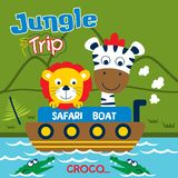 Safaritur med den roliga tecknade filmen för lejon och för sebra, vektorillustration Arkivfoton