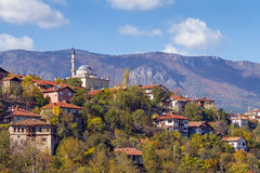 Safarnbolu - mosque on the hill below the mountains, Turkey Stock Photo