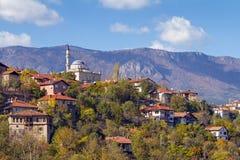 Safarnbolu - Mosque On The Hill Below The Mountains, Turkey Stock Photo