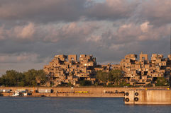 Safdie Architecture. Urban designer Moshe Safdie's housing complex shaped as modular, interlocking concrete forms Royalty Free Stock Image