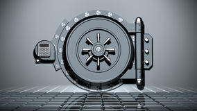Safe. The metallic closed vaulted safe Stock Photo