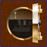 The safe. Of the square form with an open round door Royalty Free Stock Photos