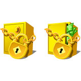 Safe. Bank safe with money and chain Royalty Free Stock Photos