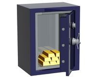 Safe. Bank safe with treasure gold Royalty Free Stock Image
