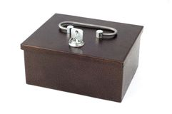 Safe. Isolated iron safe with key Stock Images