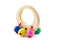 Safe baby rattle and teething ring Royalty Free Stock Images