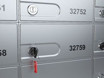 Safe bank cell and key to the safe Stock Photos