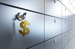 Safe bank and key safe. Safe bank and key to the safe Stock Images