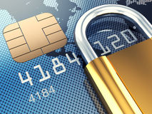 Safe banking. Credit card and padlock, 3d illustration Royalty Free Stock Photography