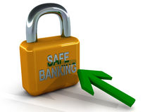 Safe banking. Lock with mouse pointer on white background secure transactions and fraud free online environment Stock Photography