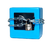 Safe is bound by a chain on a white background Royalty Free Stock Photos
