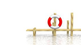 Safe-bouy and pier. Over white Royalty Free Stock Images