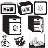 Safe box black icons Royalty Free Stock Photo