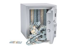 Safe box full dollar packs, 3D rendering Royalty Free Stock Photography