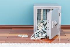 Safe box full dollar packs on the floor, 3D rendering. Safe box full dollar packs indoor, 3D Stock Image