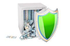 Safe box full dollar packs with shield. Financial insurance conc. Ept, 3D rendering isolated on white background Stock Images