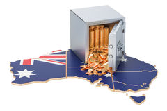 Safe box with golden coins on the map of Australia, 3D rendering Royalty Free Stock Photography