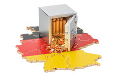 Safe box with golden coins on the map of Germany, 3D rendering Stock Photos