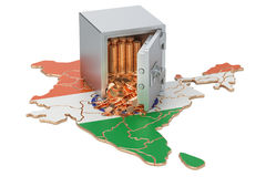 Safe box with golden coins on the map of India, 3D rendering Royalty Free Stock Images