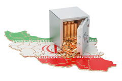 Safe box with golden coins on the map of Iran, 3D rendering Stock Photo
