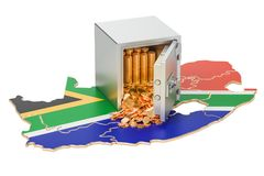 Safe box with golden coins on the map of South Africa, 3D render. Ing isolated on white background Stock Images