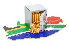 Safe box with golden coins on the map of South Africa, 3D render. Ing isolated on white background Stock Image