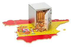 Safe box with golden coins on the map of Spain, 3D rendering. Safe box with golden coins on the map of Spain, 3D Stock Photography