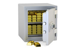 Safe Box With Golden Ingots, 3D rendering Royalty Free Stock Photography