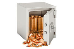 Safe box with heap of golden coins, 3D rendering. Isolated on white background Stock Photography