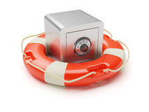 Safe box inside of lifebuoy isolated on white Royalty Free Stock Photos