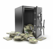 Safe box and money 3D. Protection  finance Royalty Free Stock Photo