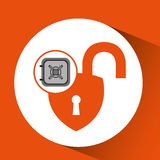 Safe box padlock open protection design Royalty Free Stock Photo