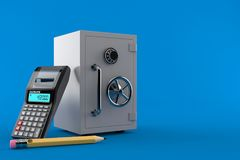 Safe with calculator and pencil. Isolated on blue background. 3d illustration Royalty Free Stock Photos
