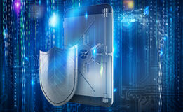 Safe cellphone from hacker attack like a strongbox. 3D Rendering Royalty Free Stock Image
