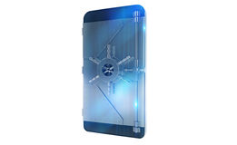 Safe cellphone from hacker attack like a strongbox. 3D Rendering Royalty Free Stock Photography