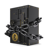 Safe closed on the lock and chain. On chains hanging lock with euro Stock Photos
